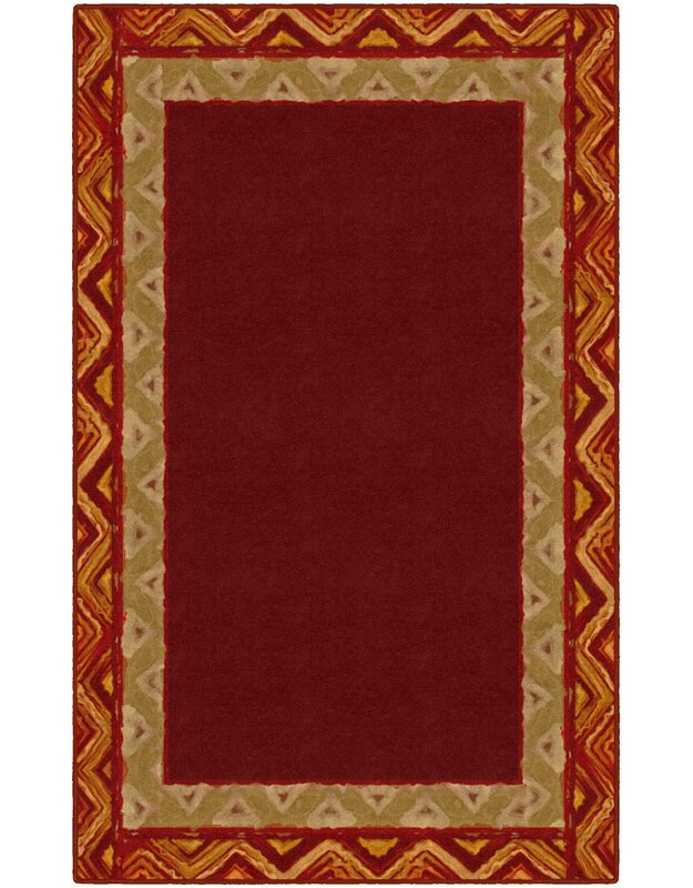 Ebern Designs Neville Border Tribal Red Area Rug, Size: Rectangle 76 x 10