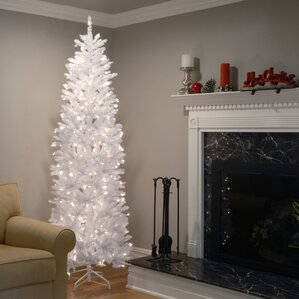 kingswood hinged pencil white fir artificial christmas tree with clear lights with stand - Outdoor Christmas Trees