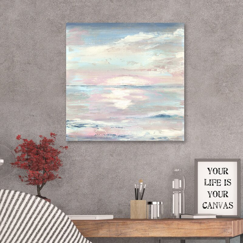 'Ocean Sunset' Watercolor Painting Print on Wrapped Canvas