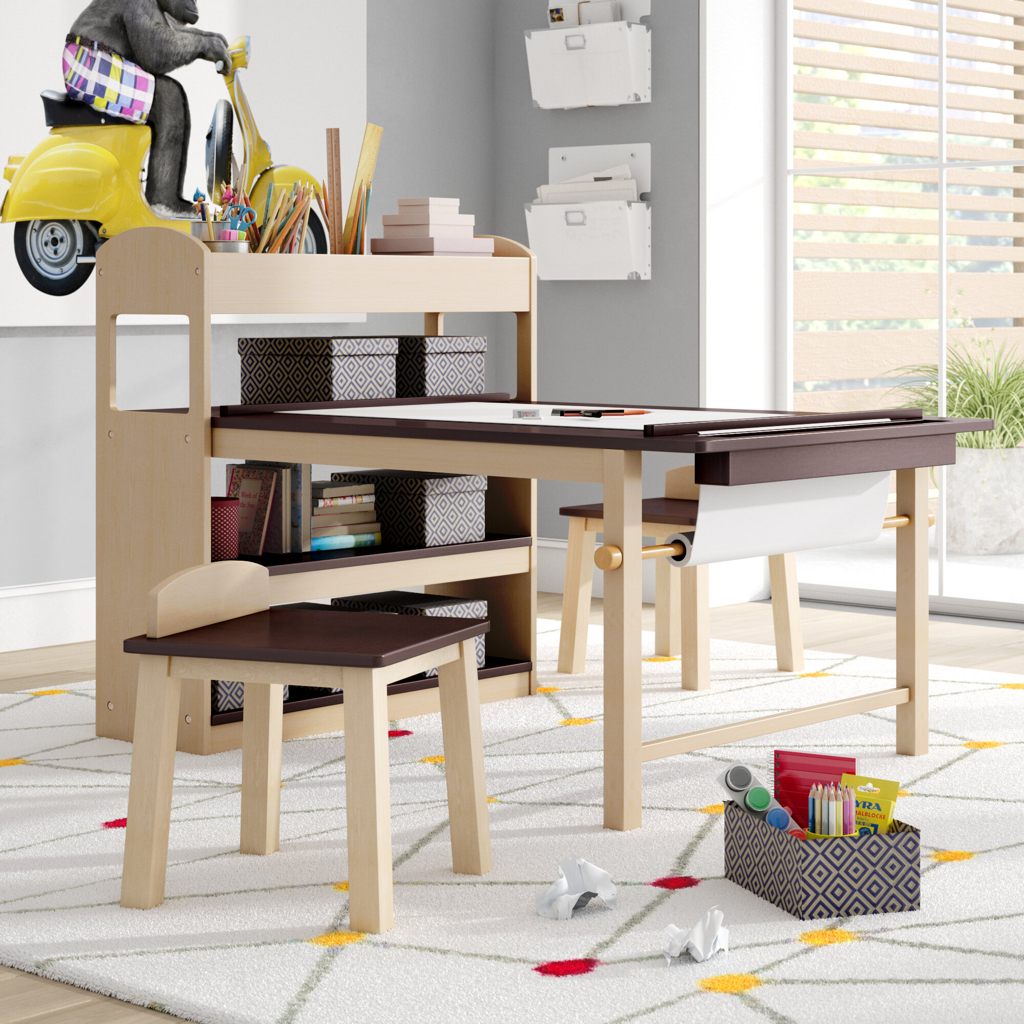 Viv Rae Emilio Kids 3 Piece Arts And Crafts Table And Chair Set