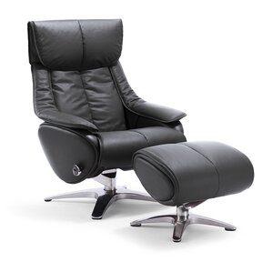 taisha leather swivel recliner with ottoman