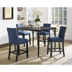Amy Wood Counter Height 5 Piece Dining Set with Fabric Nailhead Chairs by Gracie Oaks