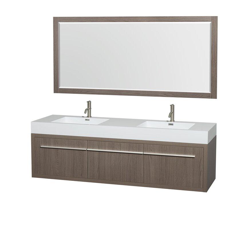 """Bathroom Vanity Oak wyndham collection axa 72"""" double gray oak bathroom vanity set"""