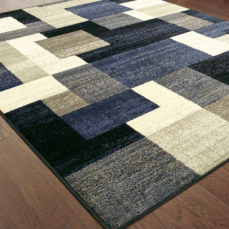 Orren Ellis Taira Block Blue/Gray Area Rug & Reviews