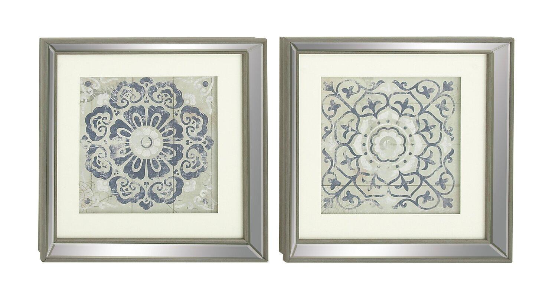 Merveilleux Polystone Mirror Framed Wall Art Set