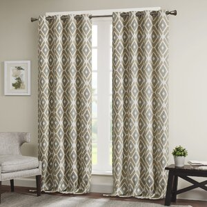 Whitely Geometric Room Darkening Grommet Single Curtain Panel