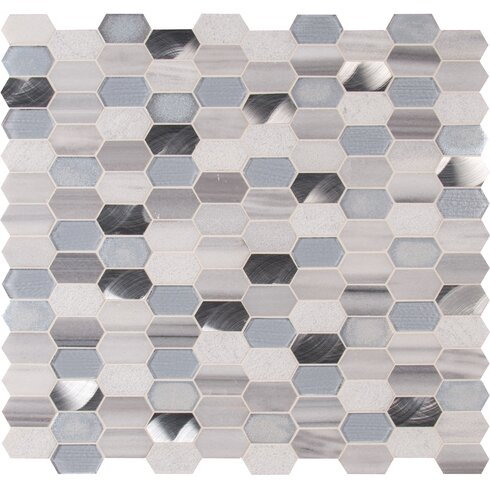 Harlow Picket Gl Stone Mosaic Tile In Gray