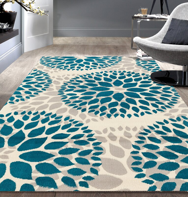 wrought studio wallner blue area rug & reviews | wayfair