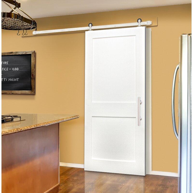 Creativeentryways Shaker 2 Panel Prime Solid Panelled Wood Interior Barn Door Wayfair
