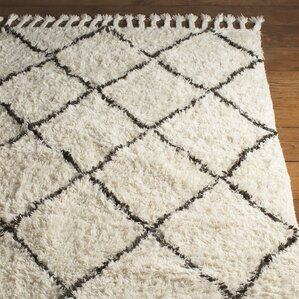 Twinar Hand Knotted White/Dark Grey Area Rug