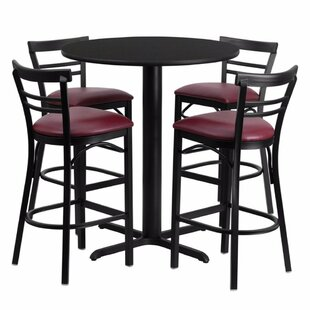 Alvarez Modern Round Laminate 5 Piece Pub Table Set
