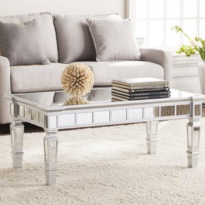 Jerlene Glam Mirrored Rectangular Coffee Table Part 86