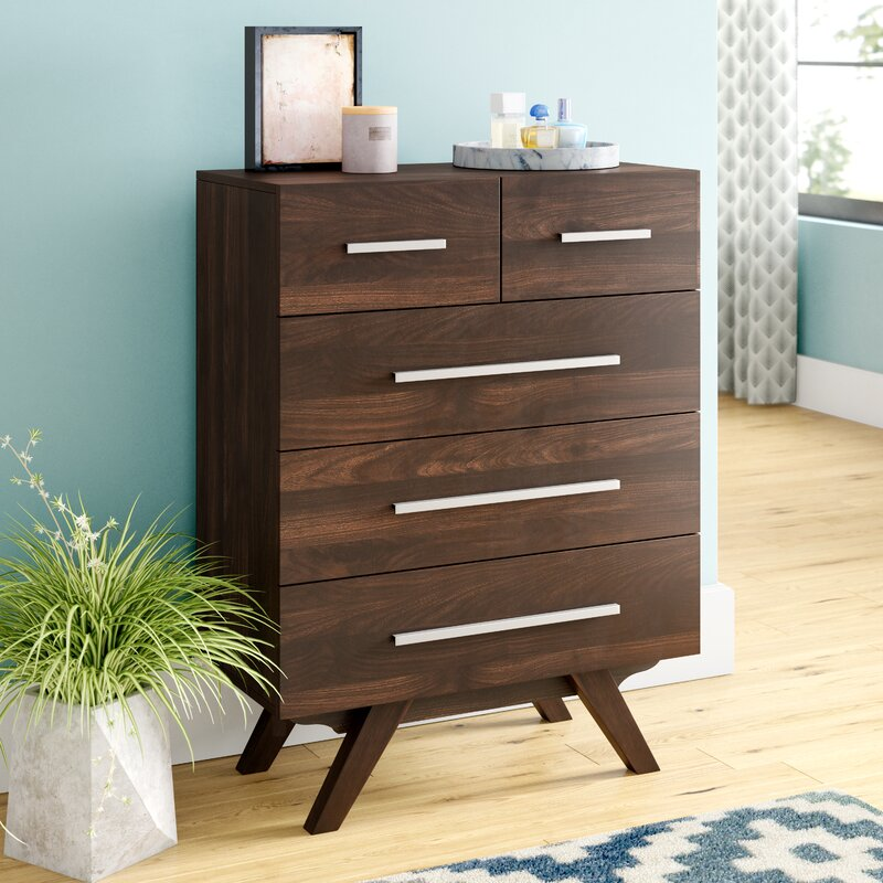 Viveiros Mid Century Wood 5 Drawer Chest
