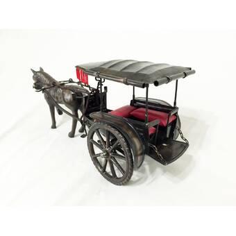D-Art Collection Metal Horse Carriage Trolley Figurine | Wayfair