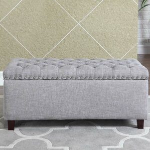 Brazil Nailhead Button Tufted Storage Ottoma..