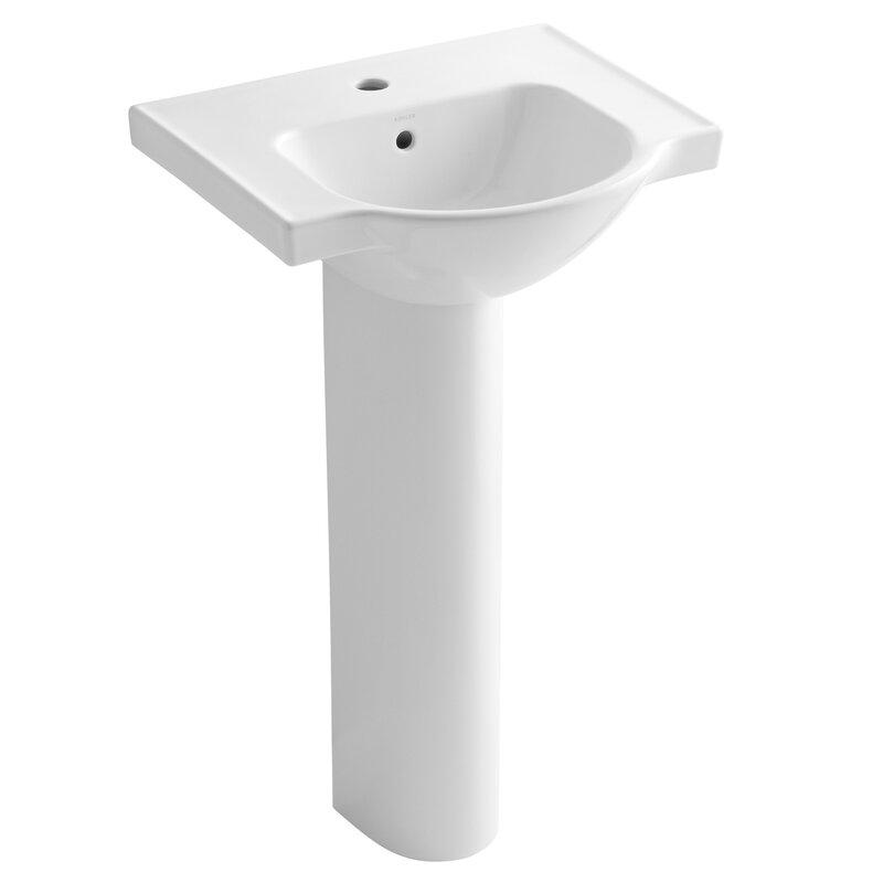 "Kohler® Veer Ceramic 21"" Pedestal Bathroom Sink with Overflow"