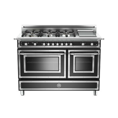 Heritage Series 48 Free-Standing Gas Range with Griddle Bertazzoni Color: Black