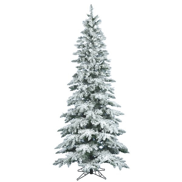 Flocked Utica Fir 7.5' White Artificial Christmas Tree with Stand ...