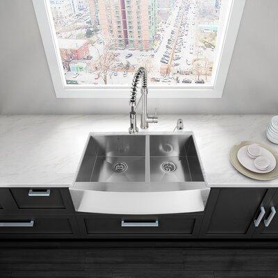 """Bathroom Sinks Double Basin kraus stainless steel 32.88"""" x 20.75"""" double basin farmhouse"""