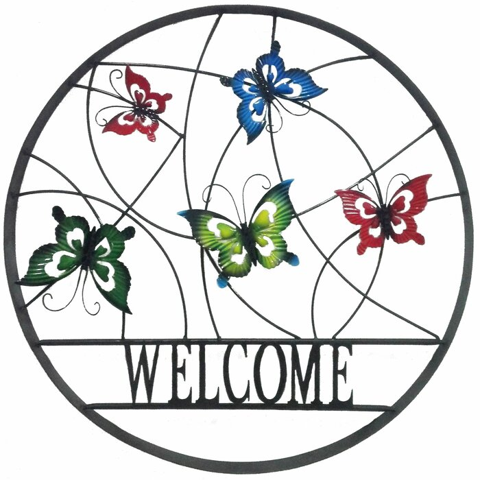 Lowall Decorative Outdoor Butterfly Welcome Wheel Wall Decor