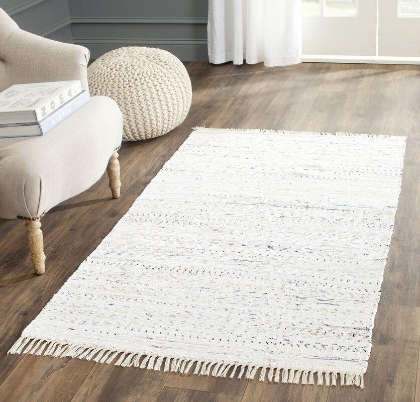 default_name - Beachcrest Home Penrock Way Handwoven Cotton White Area Rug