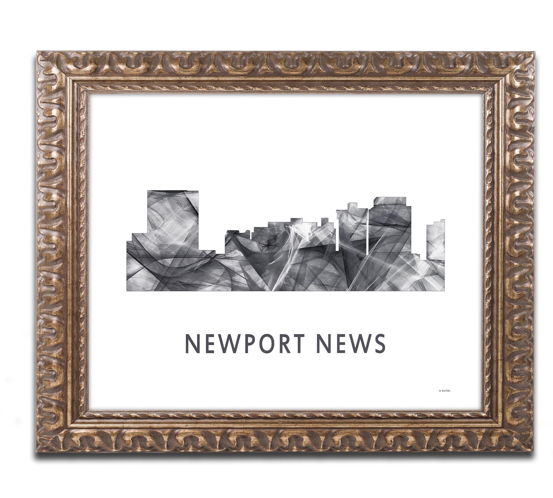 Trademark Art Newport News Va Skyline Wb Bw By Marlene Watson