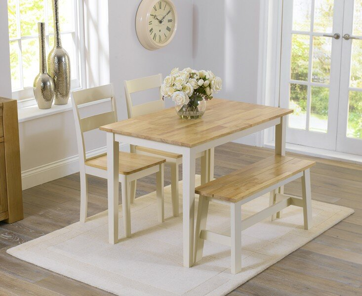 table 2 chairs. beecher falls dining set with 2 chairs and one bench table