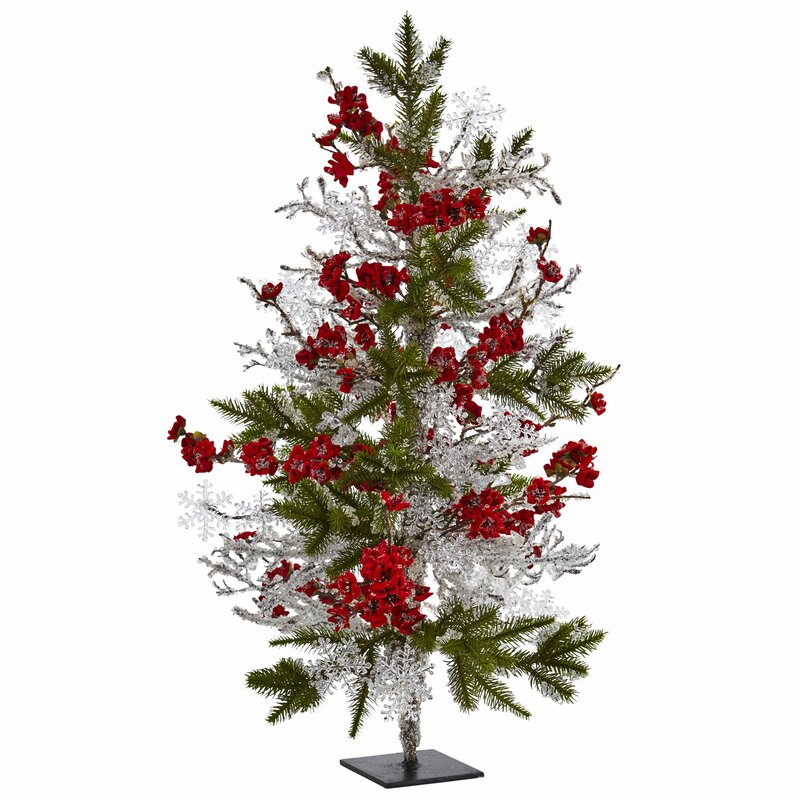 "Red Red Pine Christmas Tree: Nearly Natural 26"" Green/Silver/Red Pine Artificial"