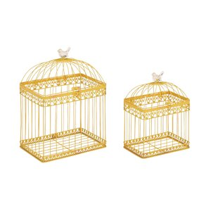 2 Piece Metal Acrylic Decorative Bird Cage Set