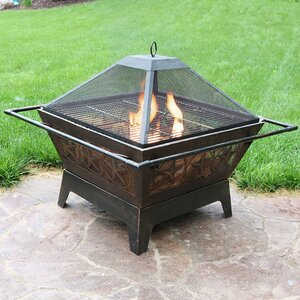 Northern Galaxy Steel Wood Fire Pit with Cooking Grate and Spark Screen