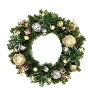 Large outdoor christmas wreath wayfair christmas 24 ornaments wreath mozeypictures Images