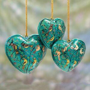 Syed Izaz Hussein 3 Piece Heart Handmade Papier Mache Ornament