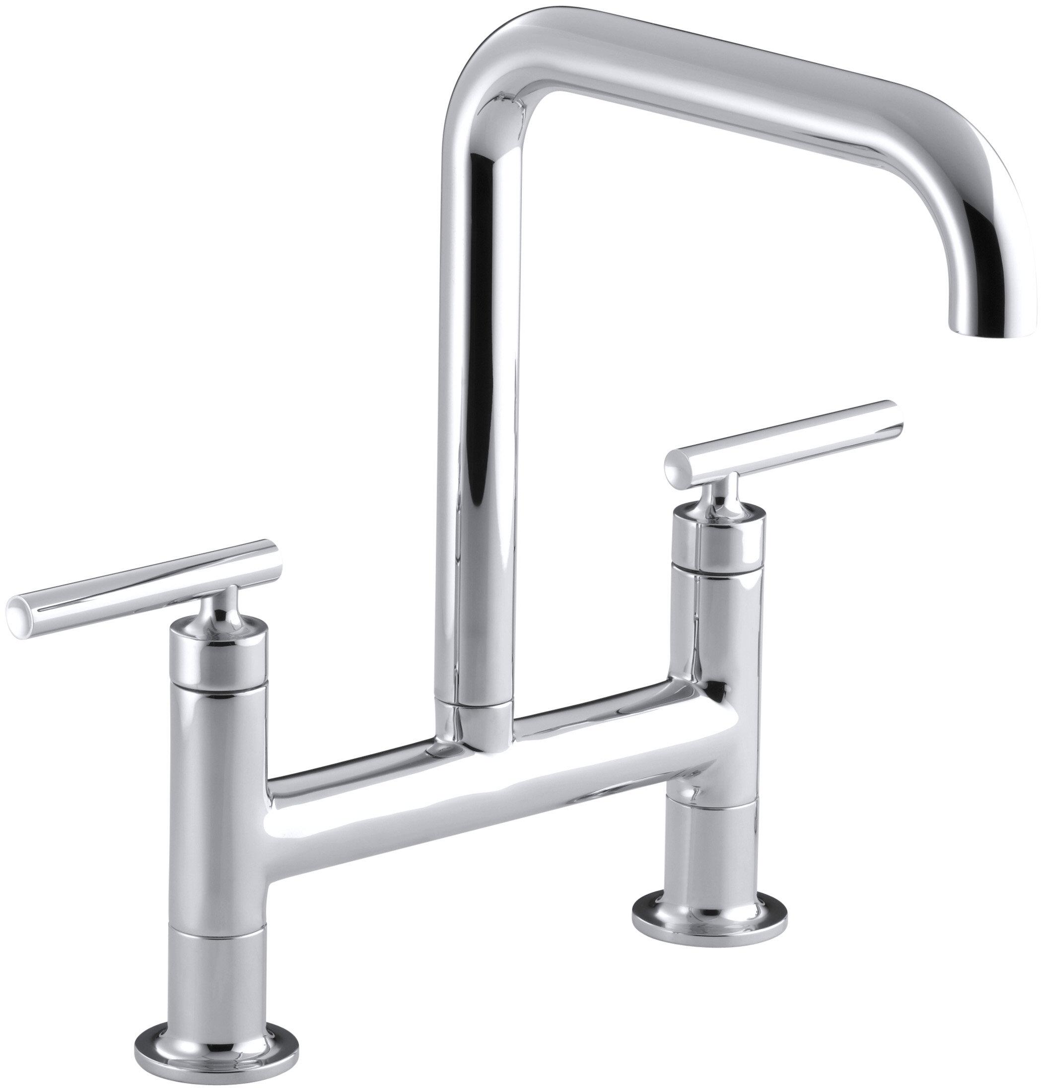 K 7547 4 BL,CP,SN Kohler Purist Two Hole Deck Mount Bridge Kitchen Sink  Faucet U0026 Reviews | Wayfair
