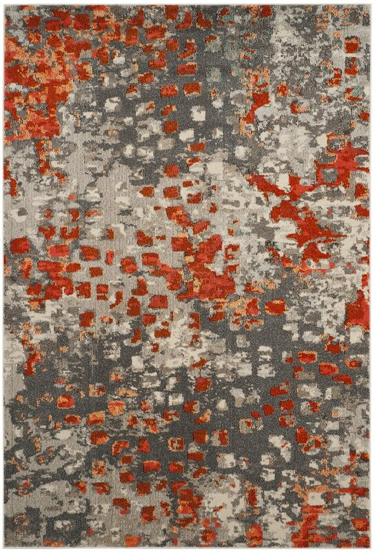 Mila Gray Orange Area Rug