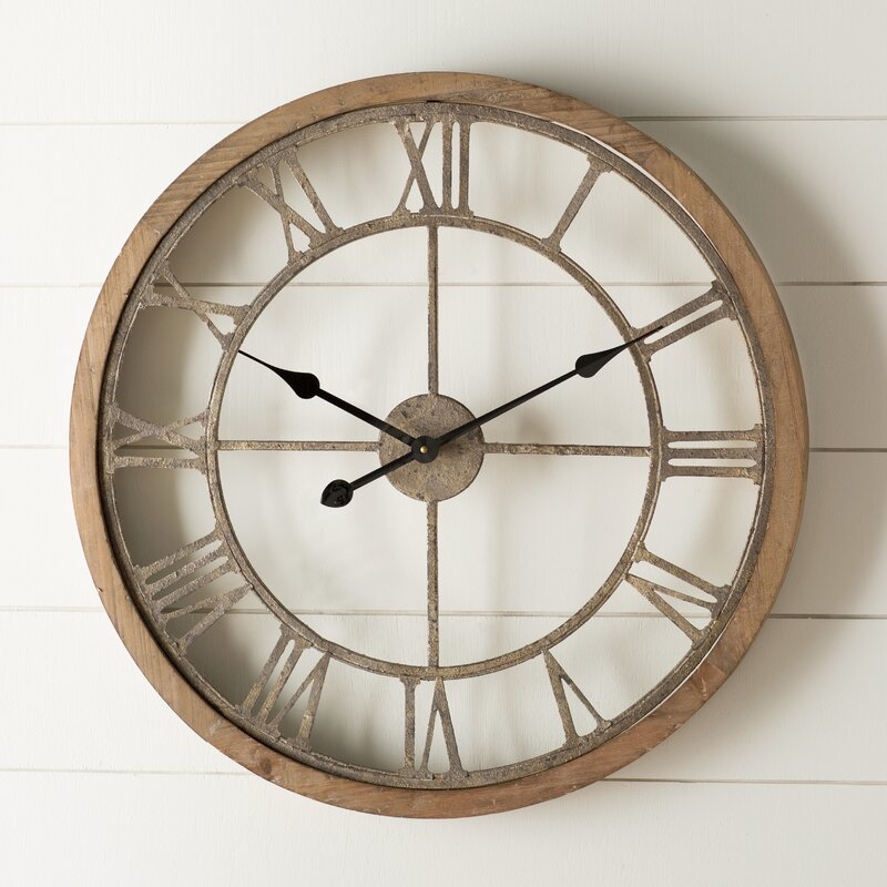Laurel Foundry Modern Farmhouse Natural Wood Wall Clock