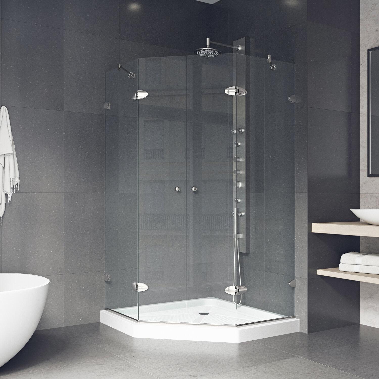 Vigo Shower 4213 Neo Angle Hinged Shower Enclosure With Base