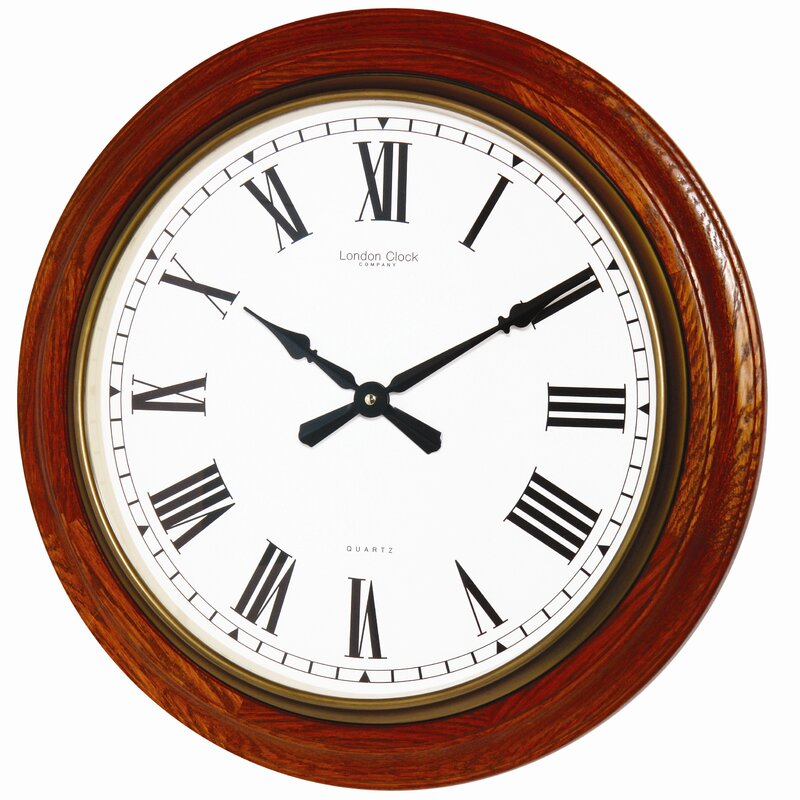 London Clock Company Traditional 54cm Oak Wood Wall Clock