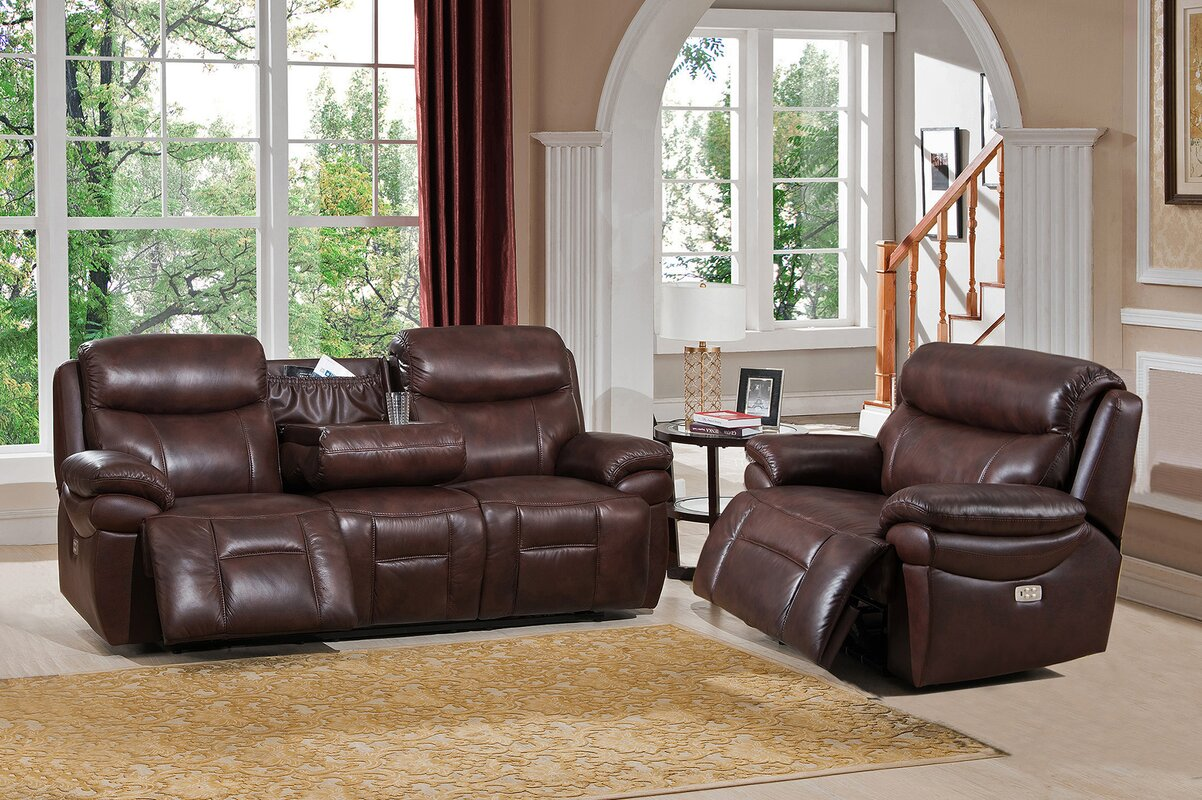 Amax Sanford 2 Piece Leather Living Room Set & Reviews | Wayfair