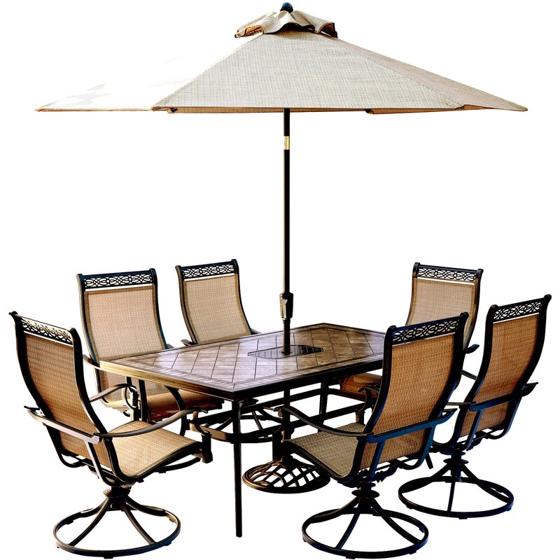 Marvelous Monaco 7 Piece Dining Set With Table Umbrella And Umbrella Stand