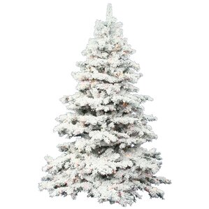 4.5' Flocked Alaskan Artificial Christmas Tree with 300 LED Multi Colored  Lights