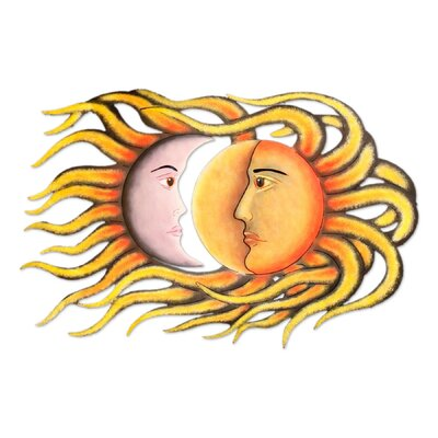 Wind & Weather Handcrafted Aluminum Sun and Moon Face Sculpture Wall ...