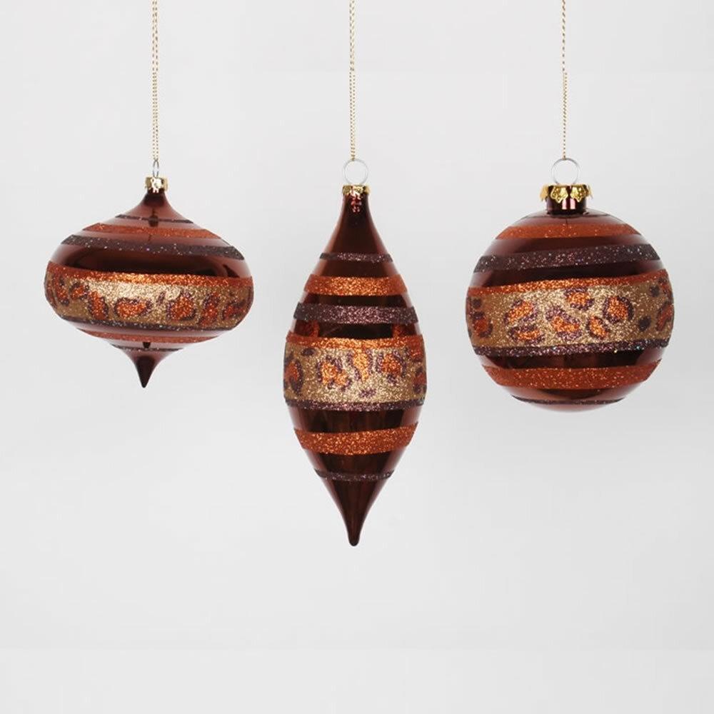 vickerman set of 3 diva safari cheetah print stripes gold copper and coffee christmas ornaments 7 wayfair