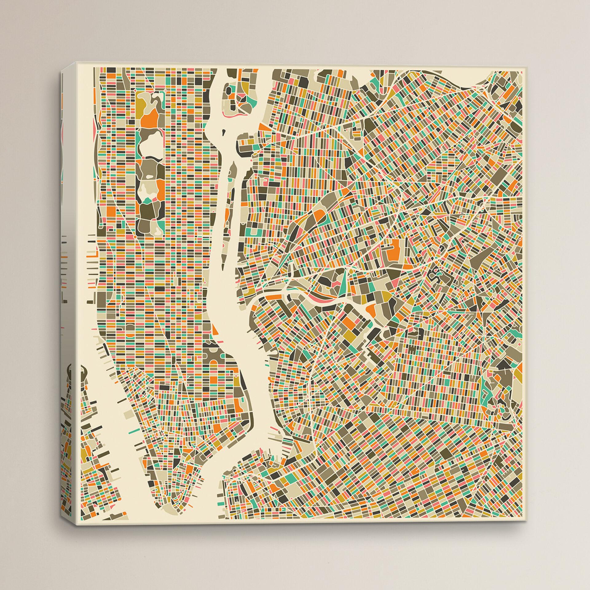 City Map Of New York City.Wrought Studio Abstract City Map Of New York City By Jazzberry Blue