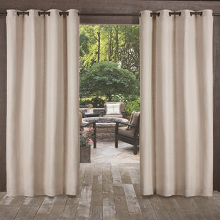 Breanna Heavy Textured Solid Outdoor Grommet Curtain Panels (Set Of 2)