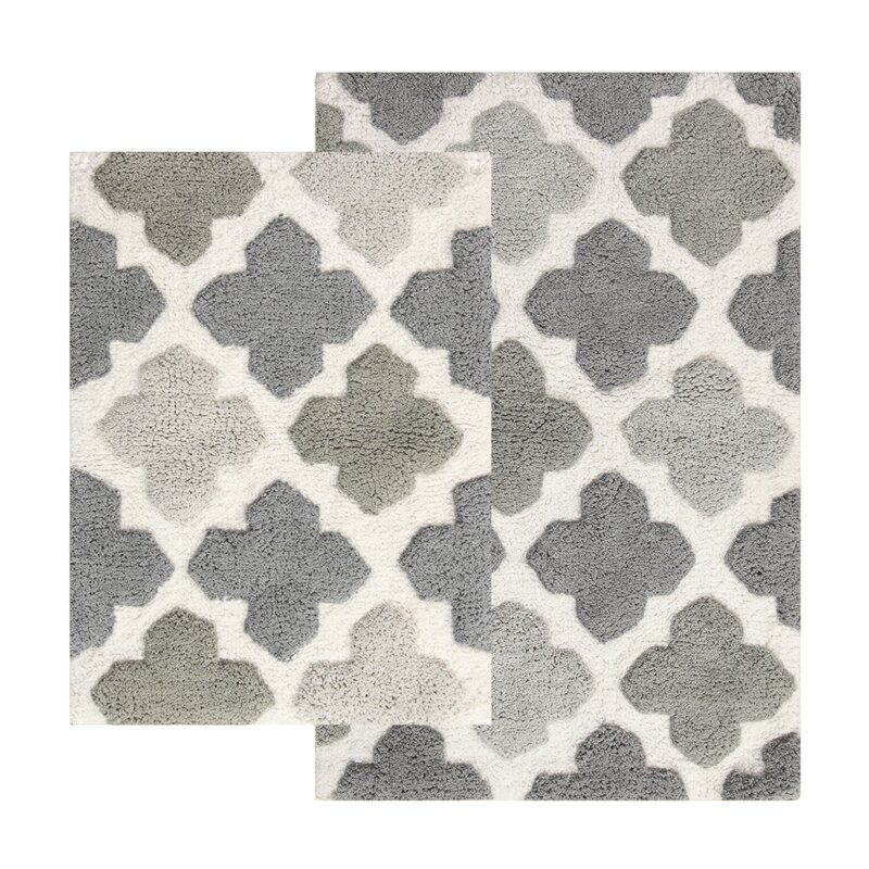 Chesapeake Alloy Moroccan Tile Piece Bath Rug Set Reviews - Gray bathroom rug sets for bathroom decor ideas