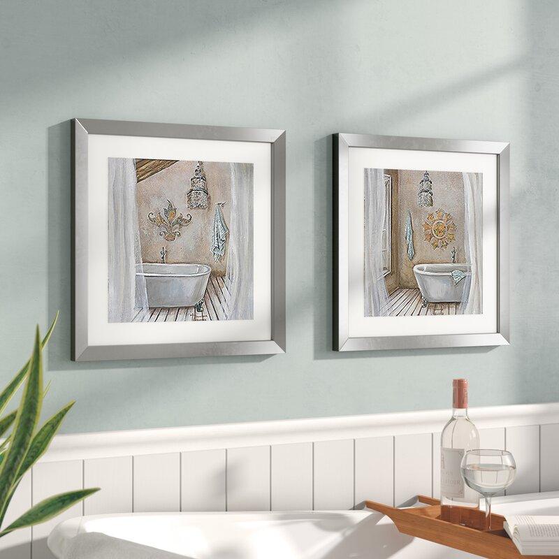 Red Barrel Studio \'Crystal Bath\' 2 Piece Framed Acrylic Painting ...