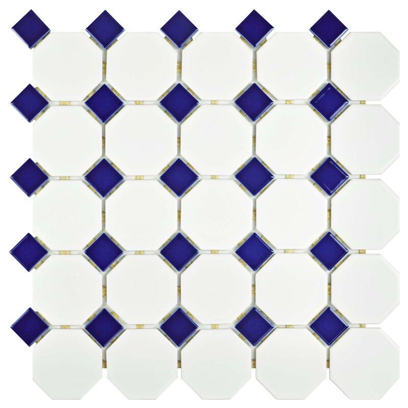 Retro Random Sized Porcelain Mosaic Tile In Matte White