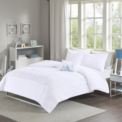 House of Hampton Mincey Reversible Duvet Cover Set Size: King / California King, Color: White