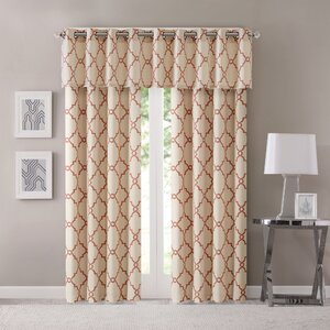 Roopville Semi-Sheer Fretwork Window Single Curtain Panel