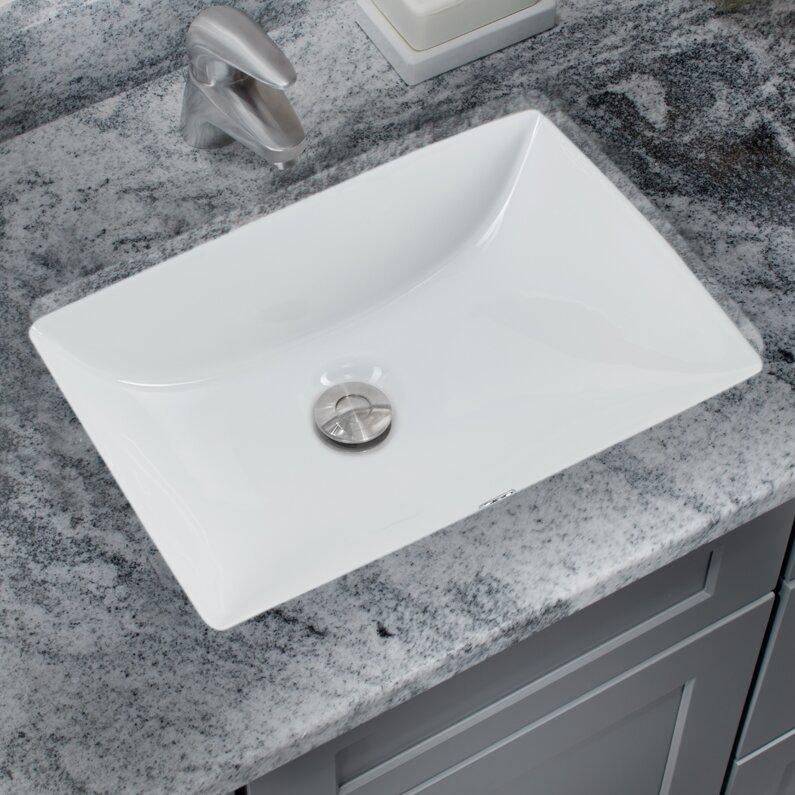 glazed rectangular undermount bathroom sink with overflow
